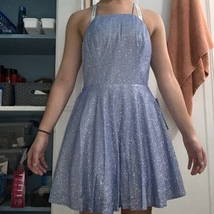 Short, light blue, homecoming dress